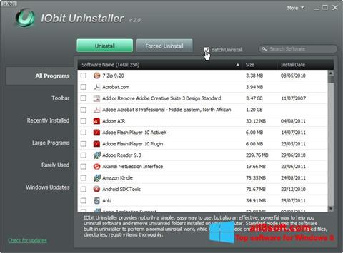 צילום מסך IObit Uninstaller Windows 8