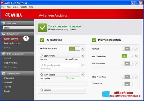 צילום מסך Avira Windows 8