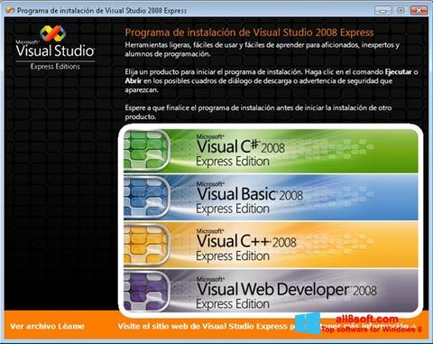 צילום מסך Microsoft Visual Studio Windows 8